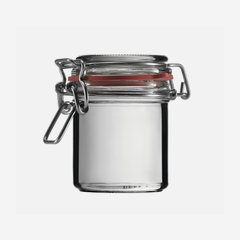Wire bail jar 167ml, white, round