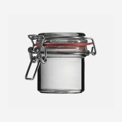 Wire bail jar 125ml, white, round