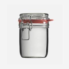 Wire bail jar 370ml, white, round