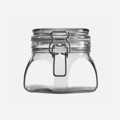 Wire bail jar 550ml, white, square