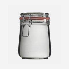 Wire bail jar 800ml, white, round