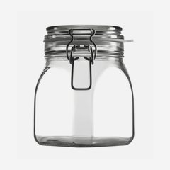 Wire bail jar 900ml, white, square
