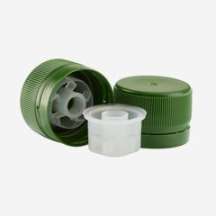 Screw cap 28mm, with pourer inset, green