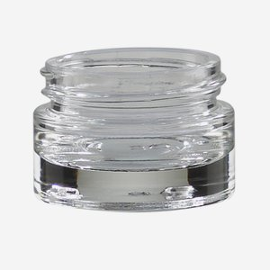 Cosmetic glass jar 15ml, clear glass, heavy bottom