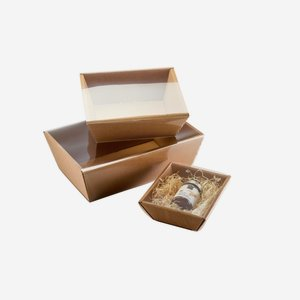 Transparent casing for cardboard box bowl