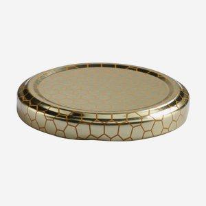 Twist Off Cap, ø63mm, gold, honeycomb patterned