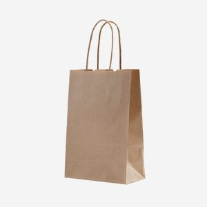 Minibag gift bag with twisted paper handles, brown