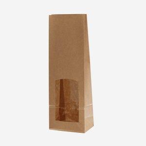 Block bottom bag, brown/brown, window rectangular