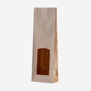 Block bottom bag, white/brown, window rectangular