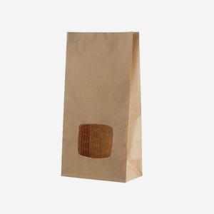 Block bottom bag, brown/brown, mesh window