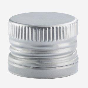 Alum. screw cap with pourer inset, 31,5/24, silver