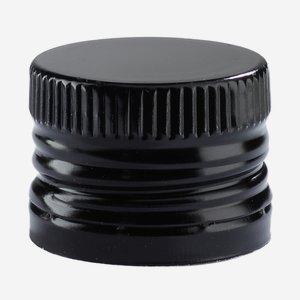 Alum. screw cap with pourer insert, 31,5/24, black