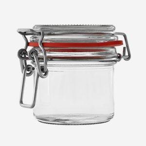 Wire bail jar 135ml, white, round
