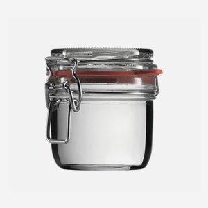 Wire bail jar 255ml, white, round