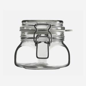 Wire bail jar 314ml, white, square