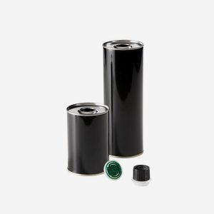 tin can 250ml, round, black, bottom and top  blank