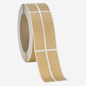 Label 25x120mm, natural brown, ribbed, dual lane