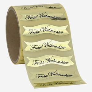 "label gold, lettering ""Frohe Weihnachten"""