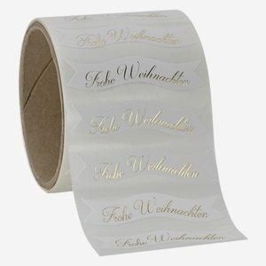 "label white, lettering ""Frohe Weihnachten"""