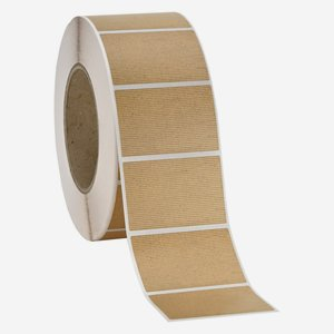 Label 60x40mm, natural brown, ribbed
