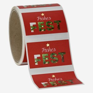 "Label red, ""Frohes Fest"", 37x63mm"