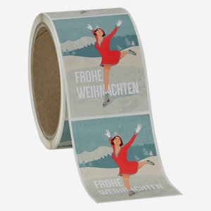 "Label Christmas, motive ""Women - Ice skating"""