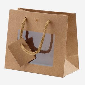 Gift carrier bag, natural, with window