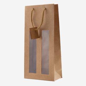 Bottle carrier bag, natural, with 2 windows