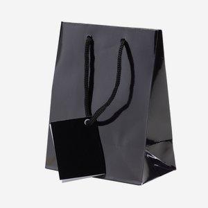 Gift carrier bag, small, black, high gloss