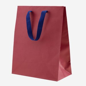 Gift carrier bag with wide ribbon, wine red