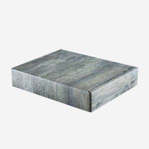 Present cardboard box in old wood optics