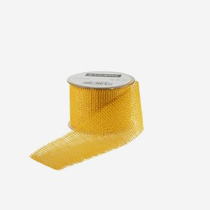 ribbon of jute fibre, 60mm, yellow