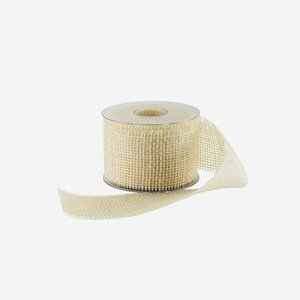 ribbon of jute fibre, 60mm, white