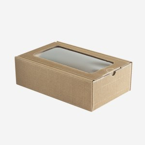 Present cardboard box eCo-wave, brown, with window