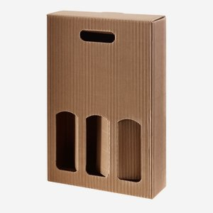Present cardboard box eCo-wave - 3 bottles, brown
