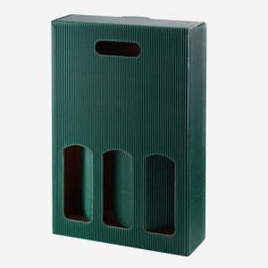 Present cardboard box eCo-wave - 3 bottles, green