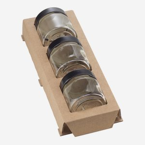 cardboard box insert for 3 Factum Jars Fac-125