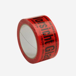 "Adhesive warning tape ""Vorsicht Glas"", red"