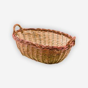 Wicker basket, plaited, oval