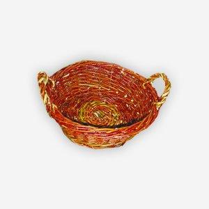 Wicker basket, plaited, round