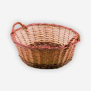 Wicker basket, plaited, round