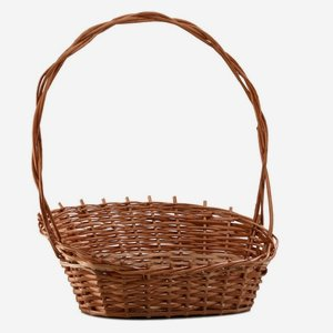 Wicker basket with handle, plaited, round