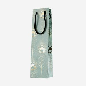 Bottle carrier bag, peacock feather, H38xW10xD9cm