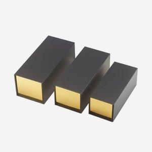 """Foldable box """"Opal"""", outside black, inside gold"""