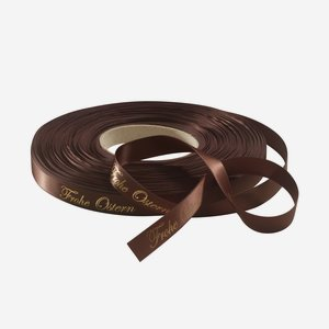 "Satin ribbon brown, lettering ""Frohe Ostern"""