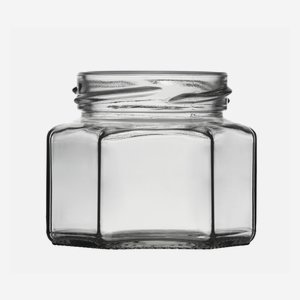Hexagonal jar 106ml, white, wide mouth: TO 53