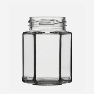 Hexagonal jar 116ml, white, wide mouth: TO 48