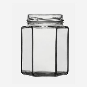 Hexagonal jar 190ml, white, wide mouth: TO 58