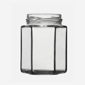 Hexagonal jar 190ml, white, wide mouth: TO 58