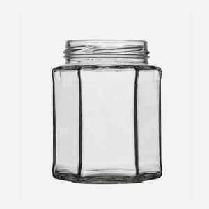 Hexagonal jar 278ml, white, wide mouth: TO 63